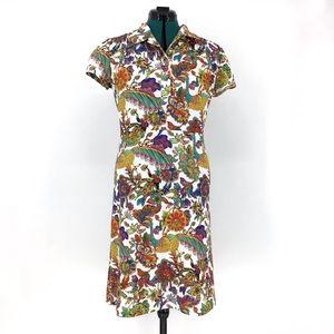 Smashed Lemon Peacock Printed Dress with Ties, L